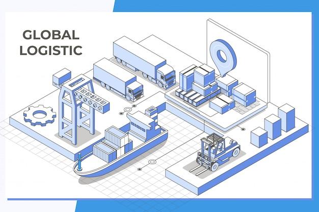Servicio logístico global línea isométrica moderna