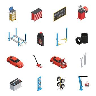 Servicio de mantenimiento de automóviles elementos isométricos