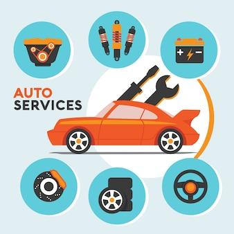 Servicio y mantenimiento de autos con ícono de repuestos e información gráfica