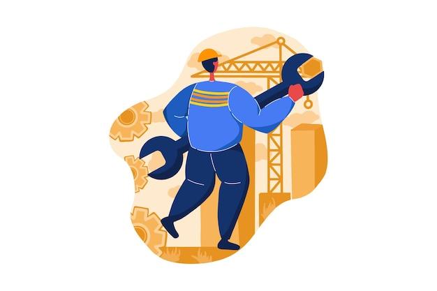 Servicio de mantenimiento en construcción ilustración web