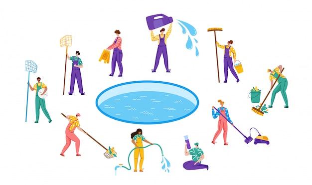 Servicio de mantenimiento o limpieza de piscinas, conjunto de personas en uniforme, equipo de limpieza y productos para piscinas, trabajadores con equipo