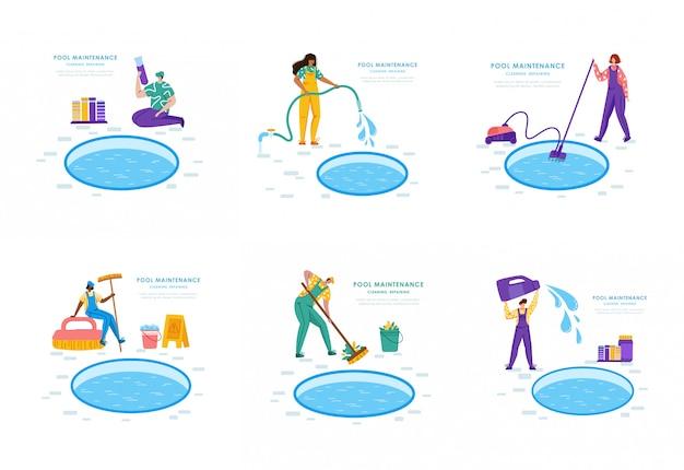 Servicio de mantenimiento o limpieza de piscinas, grupo de personas uniformadas, productos de limpieza para piscinas, trabajadores con equipo