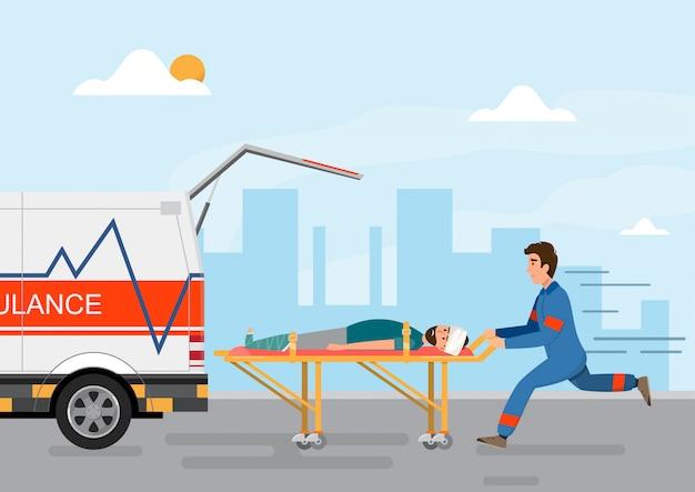 Servicio médico ambulancia llevando paciente con personal humano.