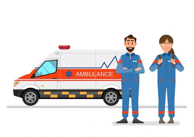 Servicio médico ambulancia portadora de paciente con personal de hombre y mujer.