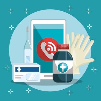Servicio médico en línea con teléfono inteligente