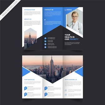 Servicio médico o diseño de folleto tríptico de atención médica.