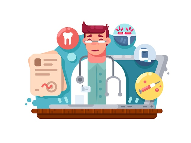 Servicio médico online. consulta y tratamiento médico a distancia. ilustración vectorial