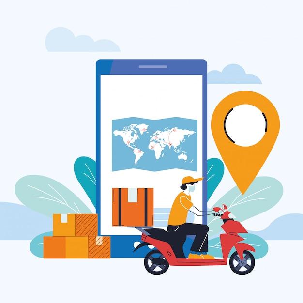 Servicio de mensajería internacional con entrega a domicilio