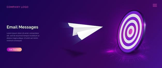 Servicio de mensajes de correo electrónico, concepto de marketing isométrico