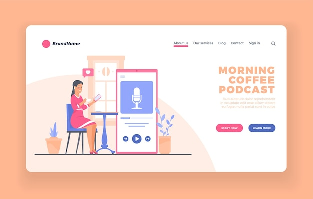 Servicio móvil de escucha de podcasts o plantilla de vector de página de destino de publicidad de aplicación o póster