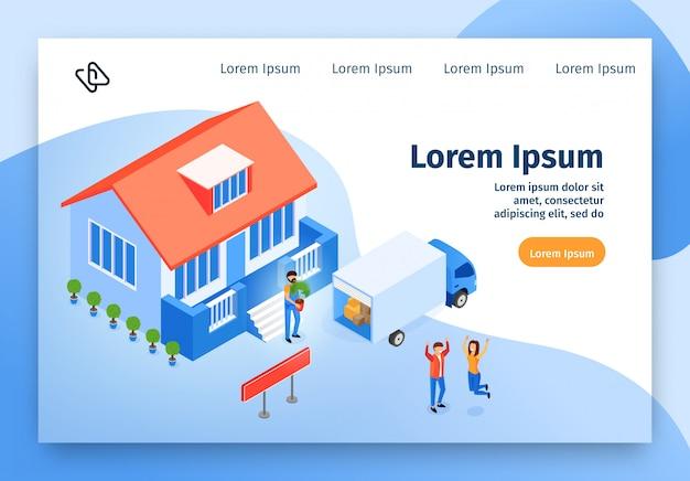 Servicio de mudanza en casa vector isométrico del sitio web