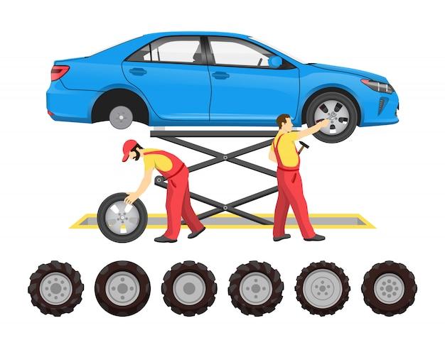 Servicio de neumáticos en estilo de dibujos animados