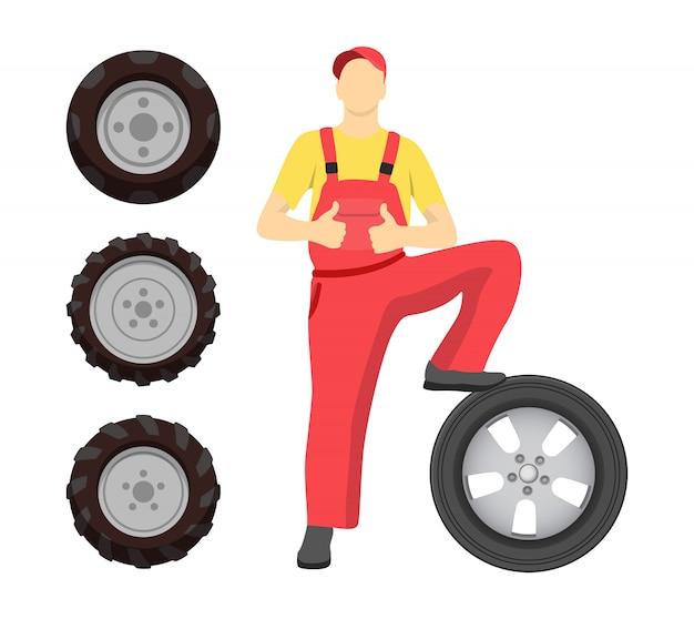 Servicio de neumáticos con ilustración de hombre