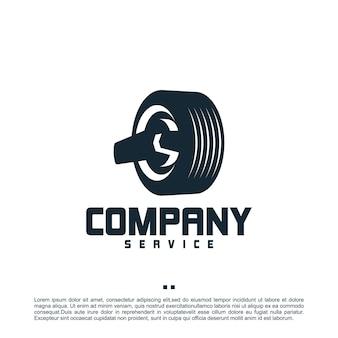Servicio de neumáticos, llave inglesa, plantilla de logotipo
