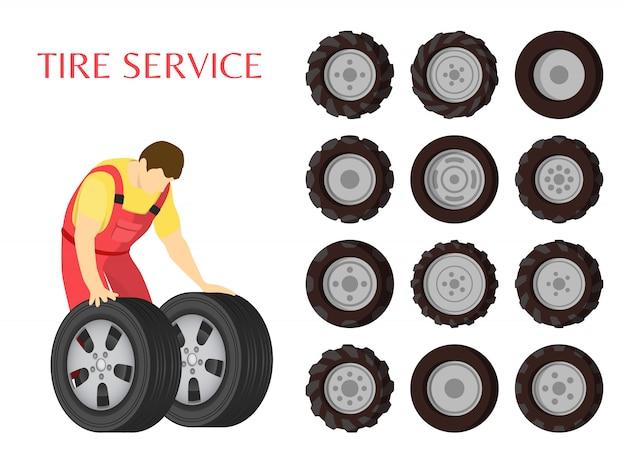 Servicio de neumáticos mantenimiento de automóviles ilustración vectorial