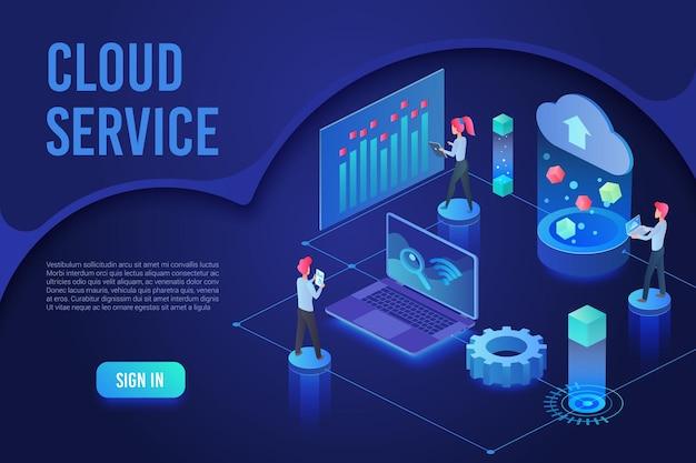 Servicio en la nube, cifrado de almacenamiento de base de datos, plantilla isométrica de página de destino de luz de neón ultravioleta