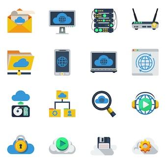 Servicio de nube iconos de colores planos