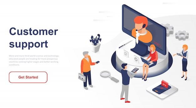 Servicio o atención al cliente de la página de destino isométrica