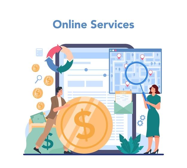 Servicio o plataforma de cobrador de deudas en línea.