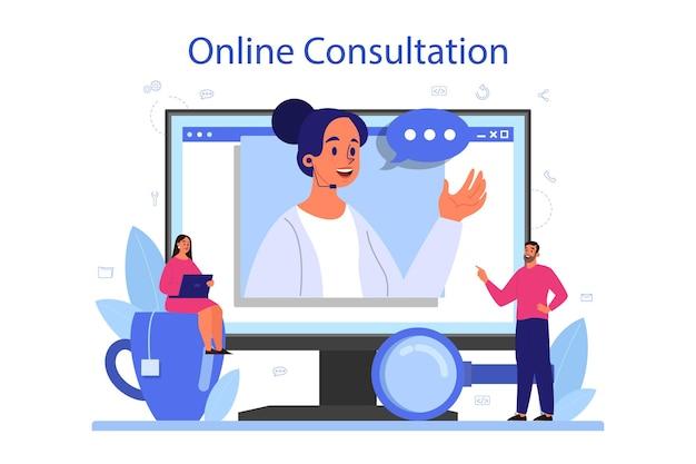 Servicio o plataforma de consultoría profesional online. investigación y recomendación. idea de gestión estratégica y resolución de problemas. consulta online.