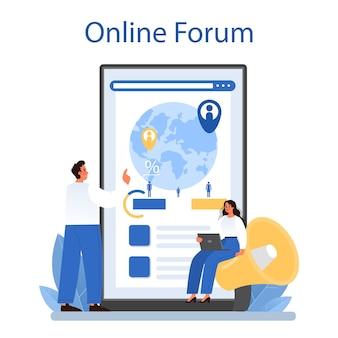 Servicio o plataforma de demógrafo en línea. científico estudiando población