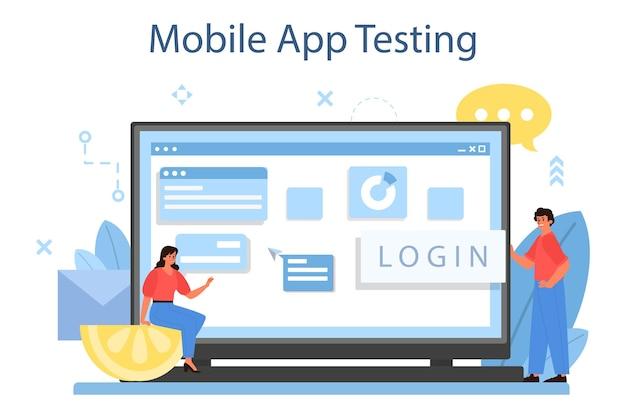 Servicio o plataforma de desarrollo de aplicaciones móviles en línea. tecnología moderna y diseño de interfaz de teléfono inteligente. prueba de aplicaciones móviles. ilustración vectorial plana