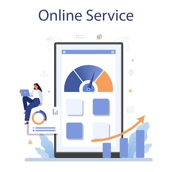 Servicio o plataforma de evaluación comparativa en línea. idea de desarrollo y mejora empresarial. compare con la competencia.
