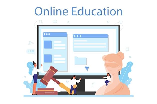 Servicio o plataforma en línea de la clase de derecho. educación sobre el castigo y el juicio.