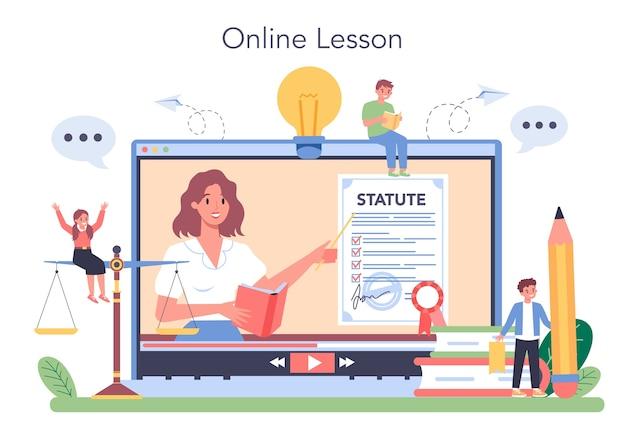Servicio o plataforma en línea de la clase de derecho