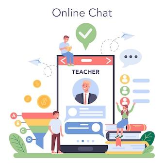 Servicio o plataforma en línea del curso escolar de educación en marketing.