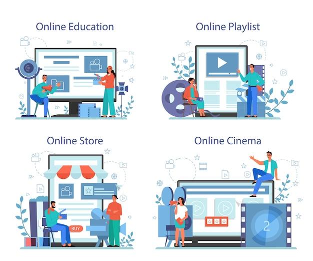Servicio o plataforma en línea de dirección de películas en diferentes conjuntos de conceptos de dispositivos. idea de gente creativa y profesión. badajo y cámara, equipo para la realización de películas.