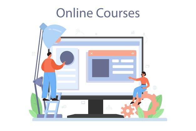 Servicio o plataforma en línea del diseñador de maquetación. desarrollo web, diseño de aplicaciones móviles. plantilla de interfaz de usuario de creación de personas. curso por internet. ilustración vectorial