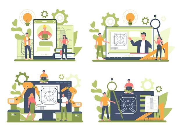 Servicio o plataforma en línea de ingeniería en un conjunto de conceptos de dispositivo diferente
