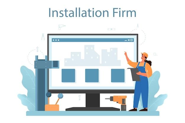 Servicio o plataforma en línea del instalador. trabajador en uniforme instalando construcciones. servicio profesional, equipo reparador. sitio web.