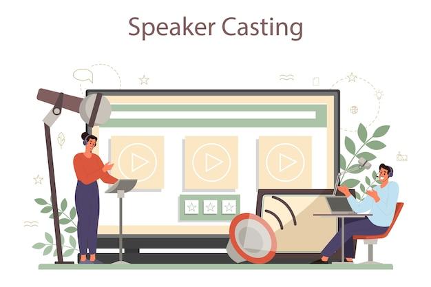 Servicio o plataforma en línea de locutor, comentarista o actor de voz profesional. peson hablando con un micrófono. casting de charlas online. ilustración de vector aislado