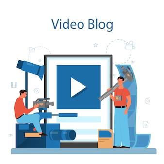 Servicio o plataforma en línea de producción de video o camarógrafo. industria cinematográfica y cinematográfica. blog de videos en línea.