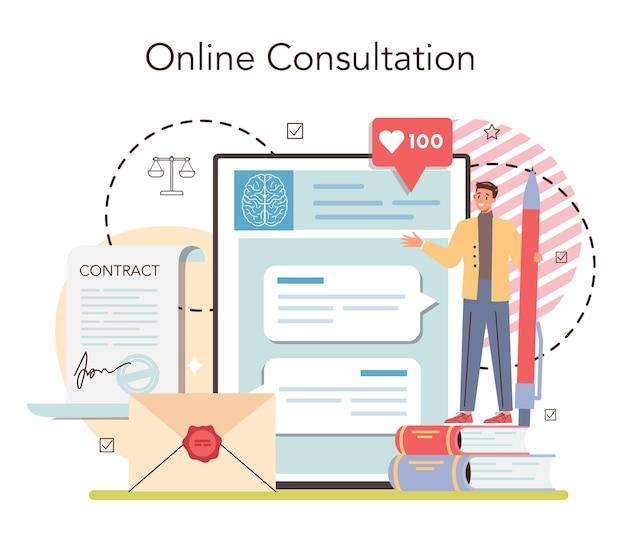 Servicio o plataforma de notario online. abogado profesional firmando y legalizando documento. persona testigo de firmas. consulta online. ilustración vectorial