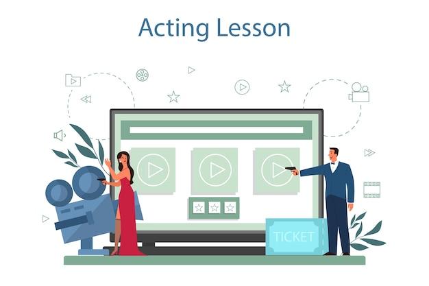 Servicio o plataforma online de actor y actriz. idea de gente creativa y profesión. representaciones teatrales y producción cinematográfica. actuación lección en línea. ilustración vectorial