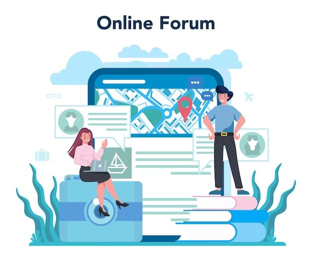 Servicio o plataforma online de agente de viajes. trabajador de oficina que vende billetes de viaje, crucero, vía aérea o tren. foro en línea.
