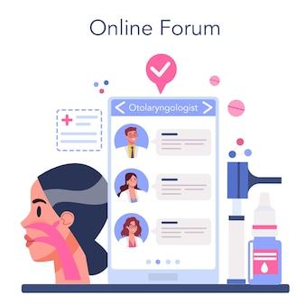 Servicio o plataforma online de otorrinolaringólogo.