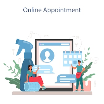 Servicio o plataforma online de peluquería. idea de cuidado del cabello en el salón. tratamiento y peinado del cabello. cita online.