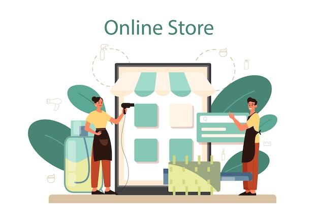 Servicio o plataforma online de peluquería. idea de cuidado del cabello en el salón. tratamiento y peinado del cabello. tienda en línea.
