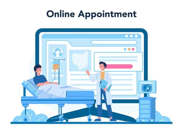 Servicio o plataforma online de proctólogos. doctor examinar intestino