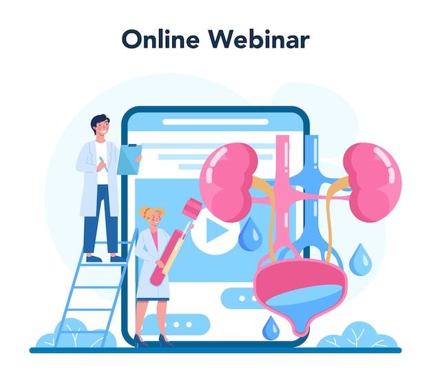 Servicio o plataforma online de urólogo. idea de tratamiento de riñón y vejiga, atención hospitalaria. seminario web en línea. ilustración vectorial