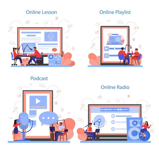 Servicio o plataforma de radio en línea en un conjunto de concepto de dispositivo diferente. idea de transmisión de noticias en el estudio. ocupación de dj. persona que habla por el micrófono.