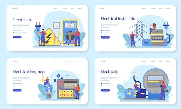 Servicio de obras de electricidad banner web o conjunto de página de destino