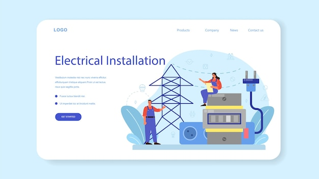 Servicio de obras de electricidad banner web o página de destino