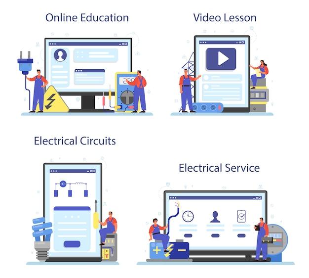 Servicio de obras de electricidad, servicio en línea o conjunto de plataformas