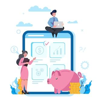 Servicio online de economía y finanzas en la pantalla de la tableta. inversión