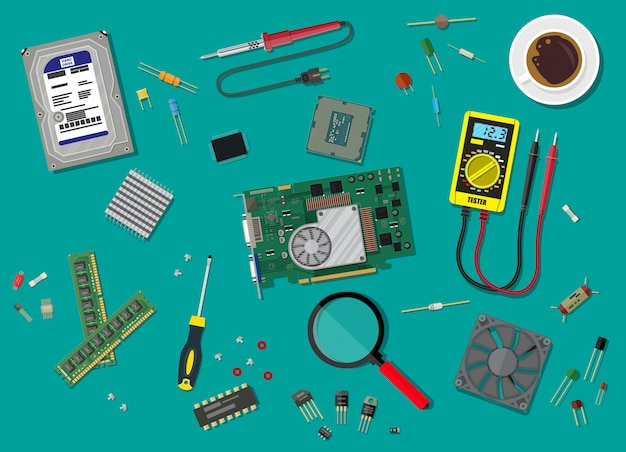 Servicio de pc. hardware de computadora personal.